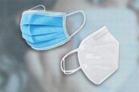 Chirurgisch 3-laags blauw mondmasker en wit FFP2 mondmasker