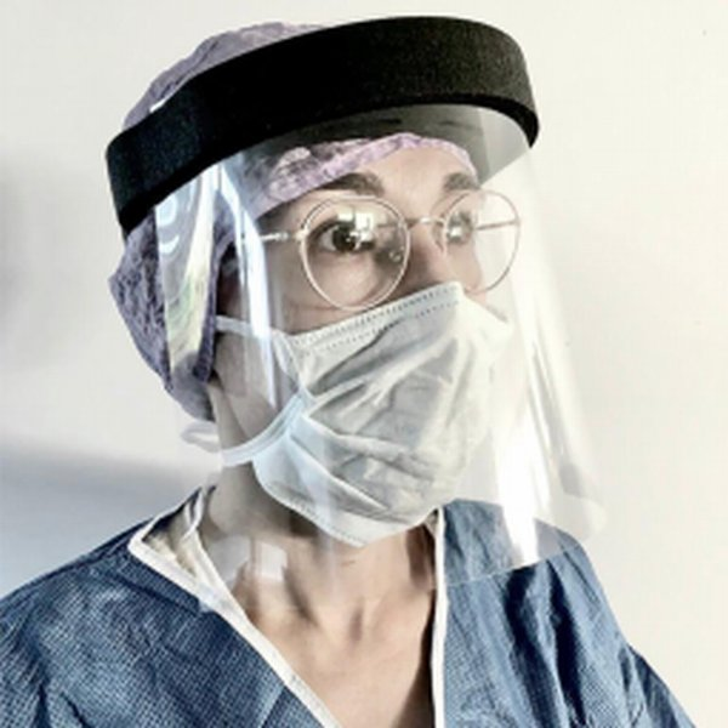 Transparant spatwaterdicht gezichtscherm met zwarte hoofdband van schuim